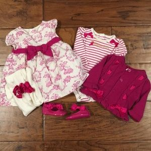 Gymboree French Theme Toile Bundle Magenta & White